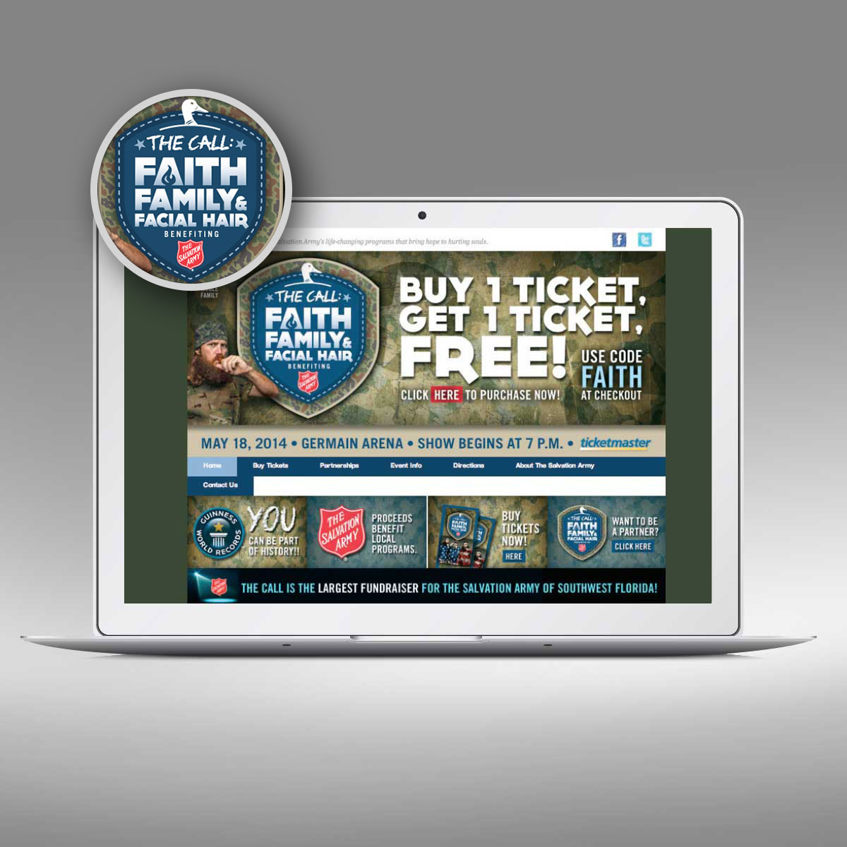 The Call will benefit The Salvation Army, Website by Priority Marketing