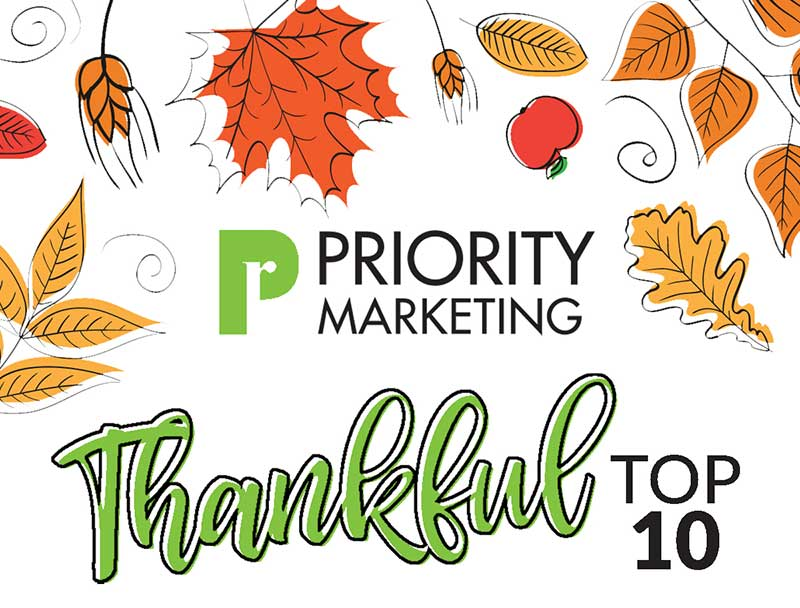Priority Marketing Thankful Top 10