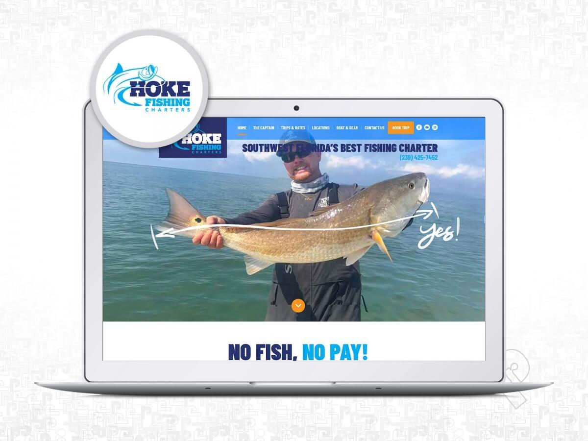 Hoke Fishing Charters website on display